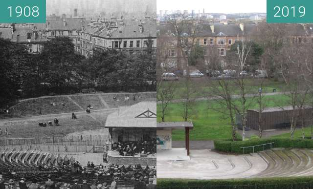 Before-and-after picture of Queen's Park stage between 1908 and 2019-Mar-24
