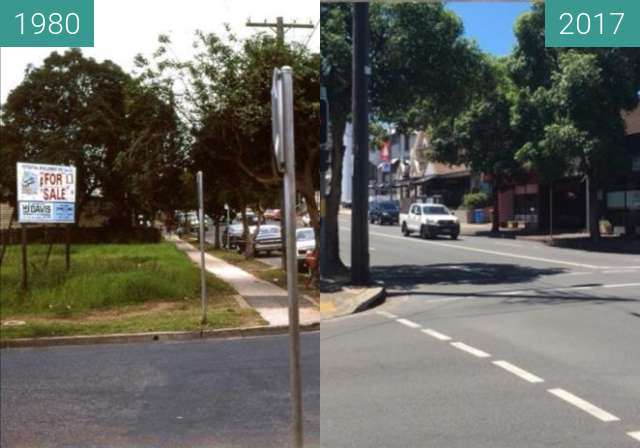Before-and-after picture of Henry and Lawson Streets, Penrith between 1980 and 2017