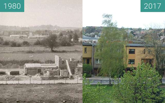 Before-and-after picture of Sportowa Street between 1980 and 2017