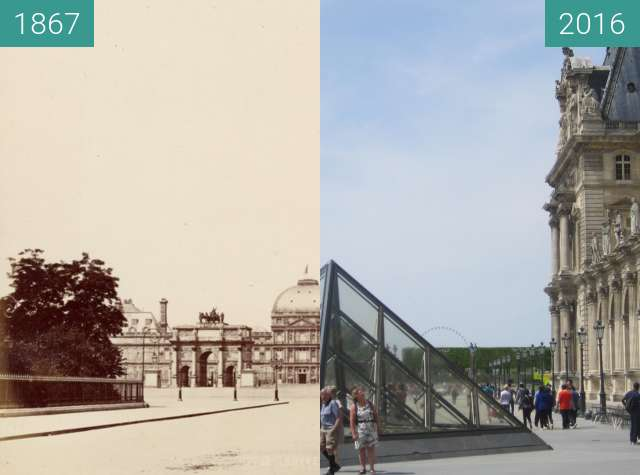 Before-and-after picture of Louvre/Tuileries between 1867 and 2016-May-08