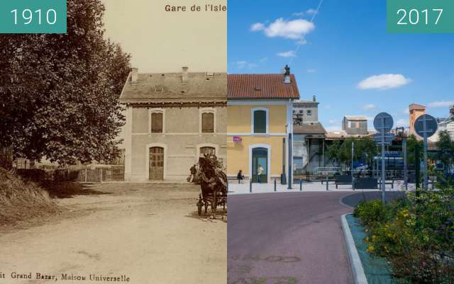 Before-and-after picture of Train Station in L'Isle Jourdain between 1910 and 2017-Jun-07