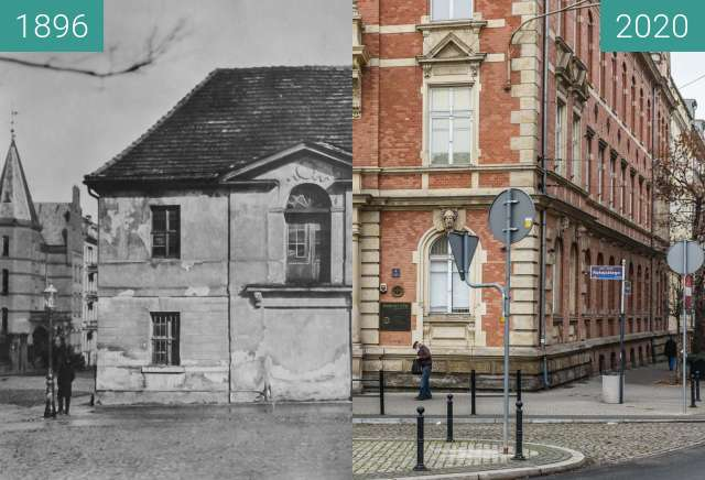 Before-and-after picture of Plac Cyryla Ratajskiego between 1896 and 2020