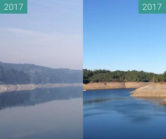 Before-and-after picture of Stausee in Pedrogao Pequeno between 2017-Jun-18 and 2017-Nov-18