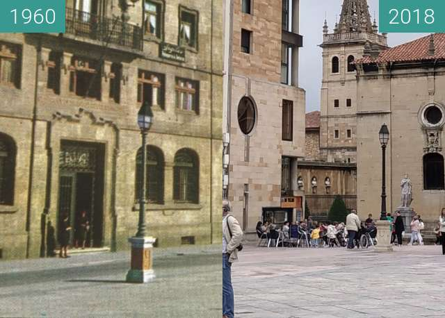 Before-and-after picture of Plaza de la Catedral en Oviedo between 1960 and 2018-Jun-02