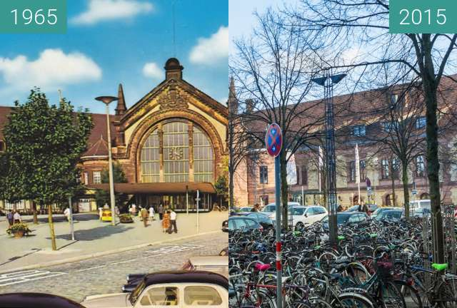 Before-and-after picture of Osnabrück Central Station between 1965 and 2015-Dec-04