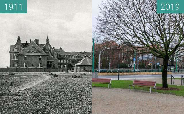 Before-and-after picture of Ulica Przybyszewskiego, szpital between 1911 and 2019-Jan-12
