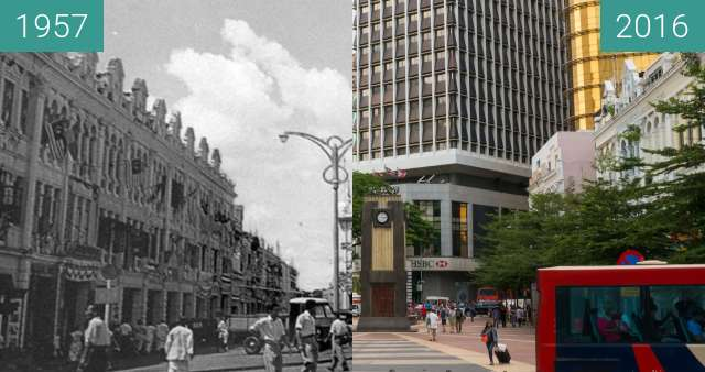 Before-and-after picture of Clock Tower at the Old Market Square between 1957 and 2016-Jul-17