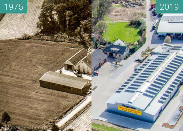 Before-and-after picture of Fa. Poggemann Landtechnik in Bad Iburg between 1975 and 2019-Mar-24