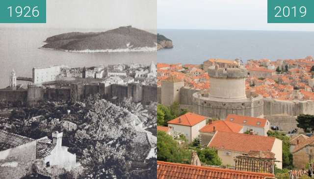 Before-and-after picture of Dubrovnik and the island of Lokrum 1926 vs. 2019 between 1926 and 2019-Apr-28