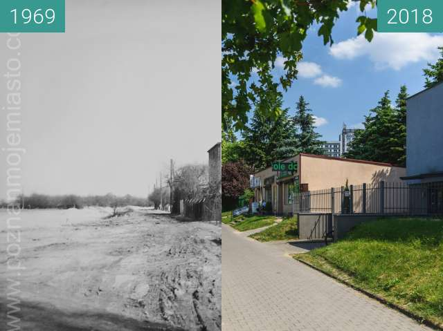 Before-and-after picture of Ulica Słowiańska between 1969 and 2018