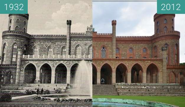 Before-and-after picture of Pałac Marianny Orańskiej between 1932 and 2012