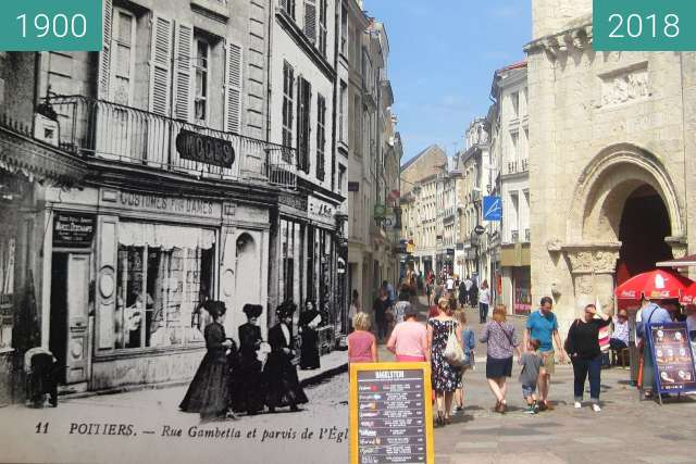 Before-and-after picture of Rue Gambetta between 1900 and 2018-Jul-18