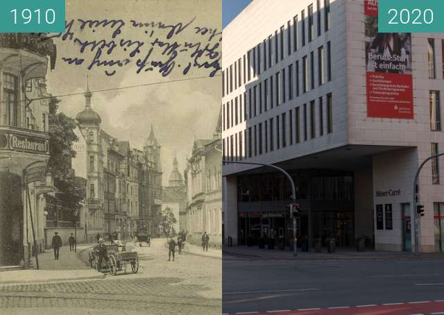 Before-and-after picture of Möserstrasse between 02/1910 and 03/2020