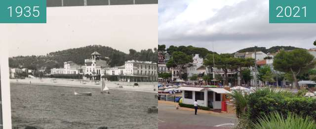 Before-and-after picture of llafranc depuis le port between 1935 and 2021-Aug-07