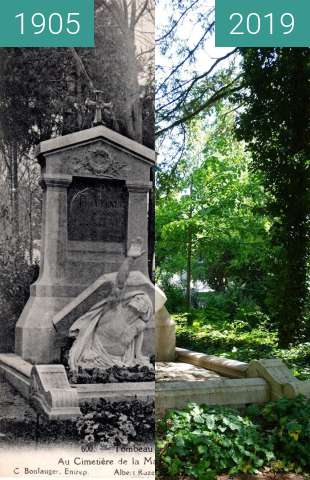 Before-and-after picture of Tomb of Jules Vernes between 1905 and 05/2019