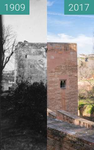 Before-and-after picture of Torre de la Cautiva in the Alhambra between 1909 and 2017-Jan-31