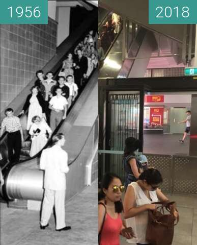 Before-and-after picture of Circular Quay Station between 1956-Jan-21 and 2018-Jan-21