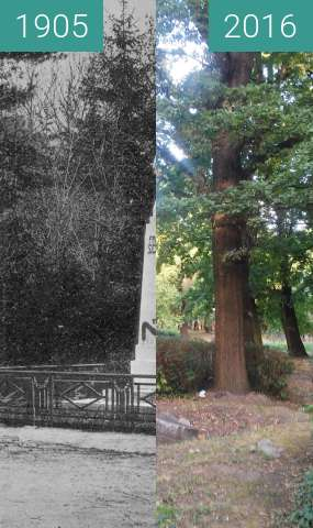 Before-and-after picture of Schiller Denkmal between 1905 and 2016
