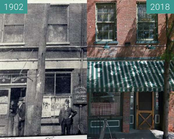 Before-and-after picture of Arnold's Bar between 1902 and 2018