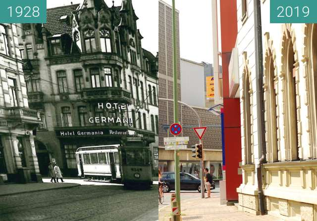 Before-and-after picture of Hotel Germania between 1928 and 2019-Jun-22