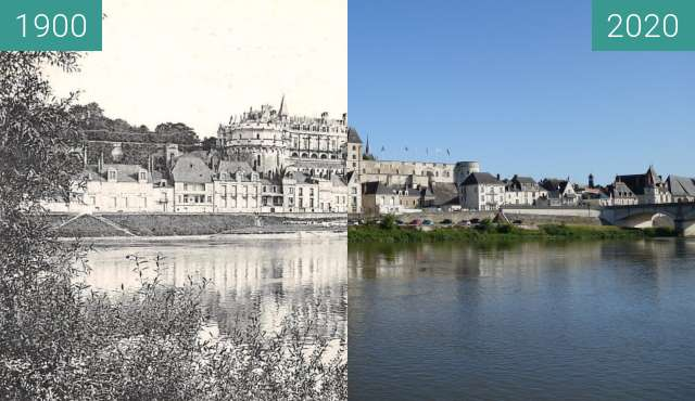 Before-and-after picture of Amboise from the Loire between 1900 and 06/2020