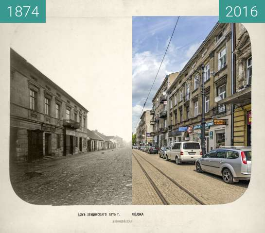 Before-and-after picture of Nowomiejska Street between 1874 and 2016