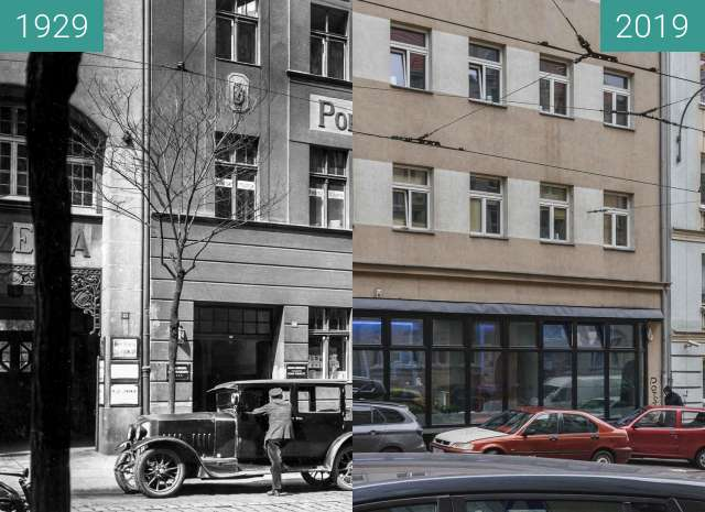 Before-and-after picture of Ulica Mielżyńskiego between 1929 and 2019-Nov-15