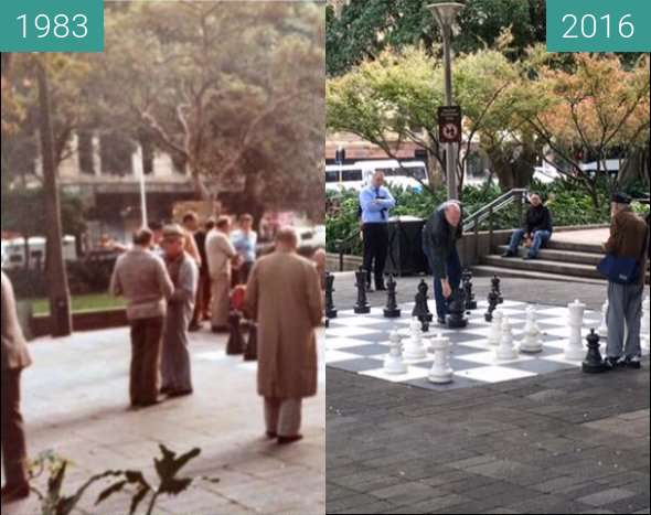 Before-and-after picture of Chess in Hyde Park between 1983 and 2016
