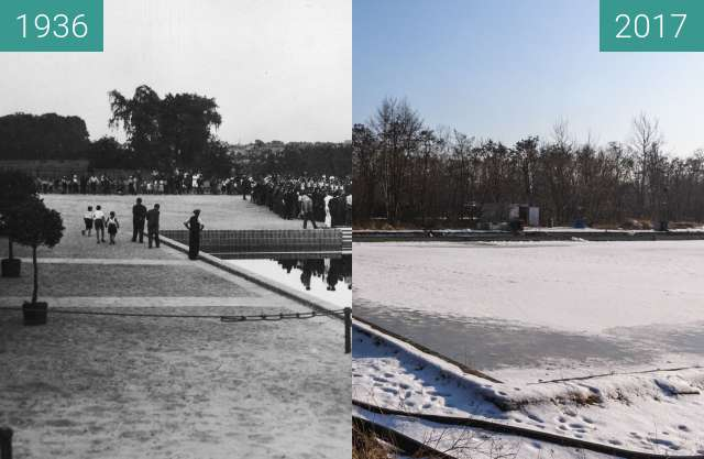 Before-and-after picture of Pływalnia przy Niestachowskiej between 1936-Jun-26 and 2017-Jan-28