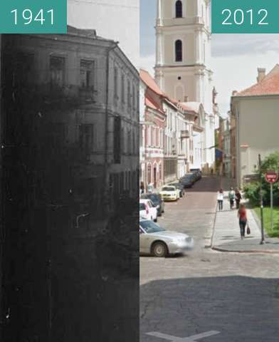 Before-and-after picture of Bell Tower of St. John's Church 1941-2012, Vilnius between 1941 and 2012