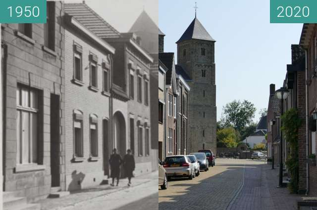 Before-and-after picture of Susteren kerk 2 between 1950 and 2020-Sep-19