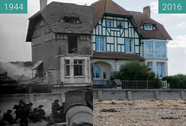 "Before-and-after picture of Villa ""Denise et Roger"" at Juno Beach (3) between 1944-Jun-06 and 2016-Oct-22"