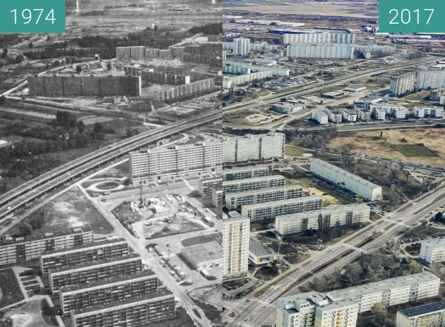 Before-and-after picture of Osiedle Oświecenia between 1974 and 2017