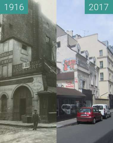 Before-and-after picture of Rue Portefoin/rue des Archives between 1916 and 2017-May-01