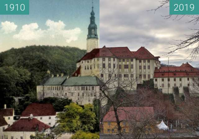 Before-and-after picture of Zámek Weesenstein between 1910 and 2019-Dec-26