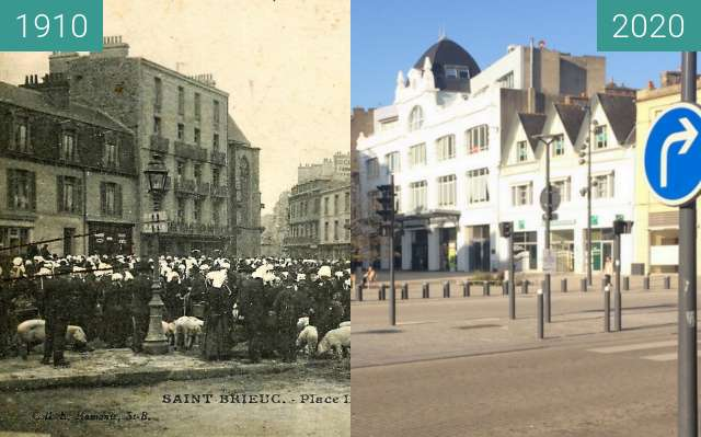 Before-and-after picture of Saint-Brieuc - Place Duguesclin between 1910 and 2020-Nov-06