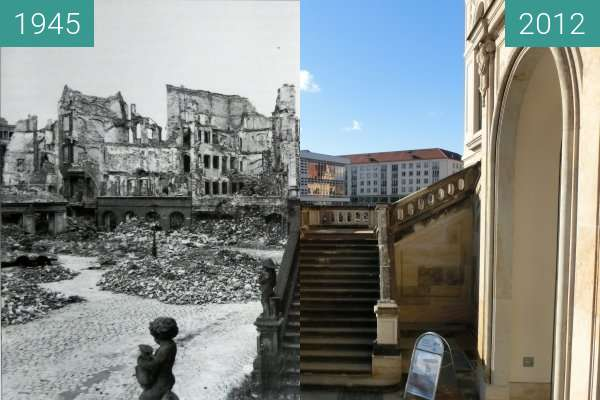 Before-and-after picture of Dresden between 1945 and 11/2012