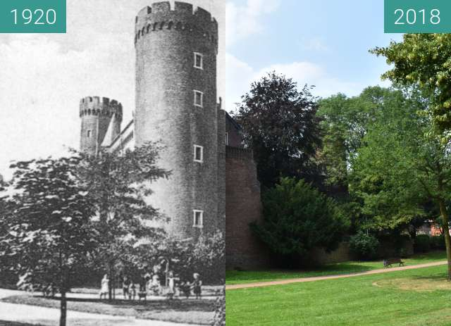 Before-and-after picture of Kempen, Kurkölnische Landesburg von 1400 between 1920 and 2018-Jun-07