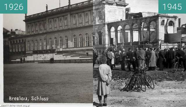 Before-and-after picture of Royal Palace, Wroclaw between 1926 and 1945