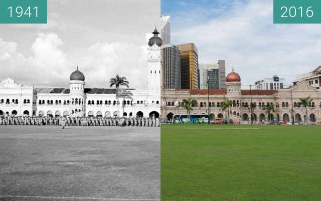 Before-and-after picture of Australian Anzac Day's Parade (Sultan Abdul Samad) between 1941-Apr-25 and 2016-Jul-25