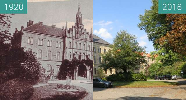 Before-and-after picture of Von der Irrenanstalt zum Ameos between 1920 and 2018-Sep-14