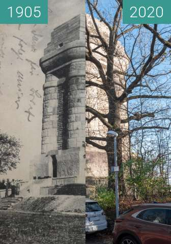 Before-and-after picture of Stuttgart - Bismarckturm between 1905 and 2020-Nov-14