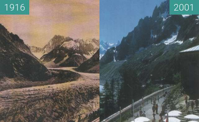 Before-and-after picture of mer de glace_ France 1916_2001 between 1916 and 2001