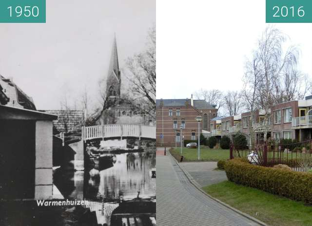 Before-and-after picture of Warmenhuizen between 1950 and 2016
