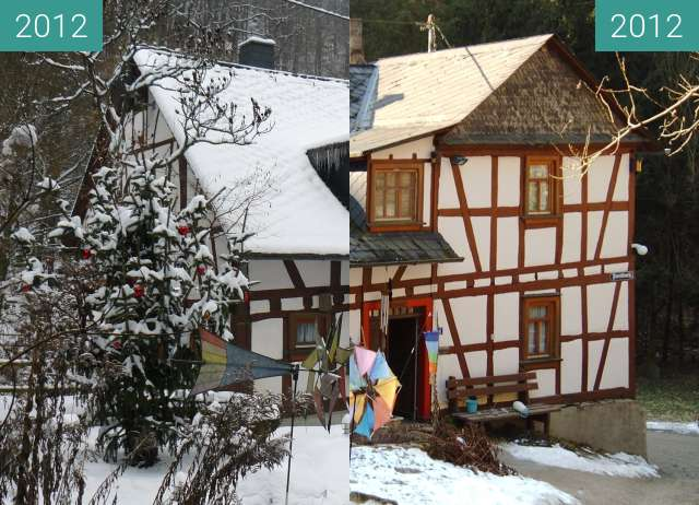Before-and-after picture of Bornsmühle between 2012-Jan-12 and 2012-Feb-01
