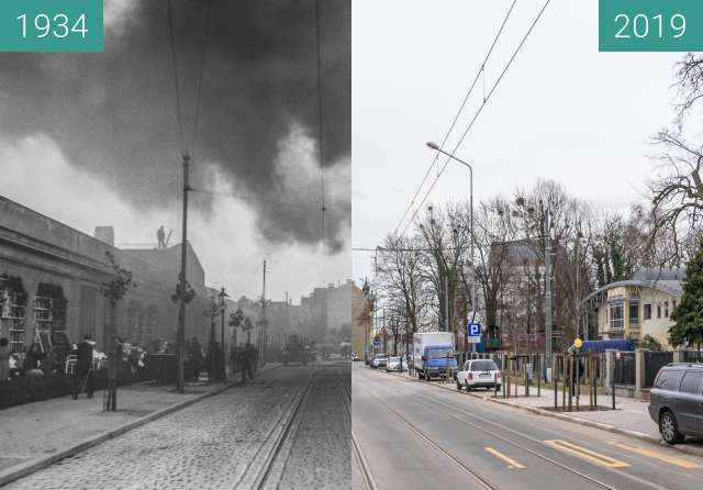 Before-and-after picture of Ulica Zwierzyniecka between 1934 and 2019-Mar-07