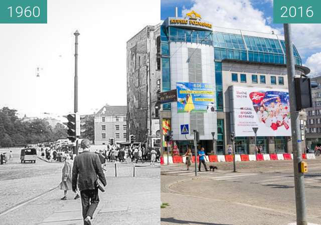 Before-and-after picture of Plac Wiosny Ludów between 1960 and 2016
