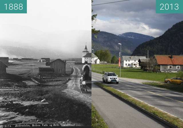 Before-and-after picture of Rysstad between 1888 and 2013