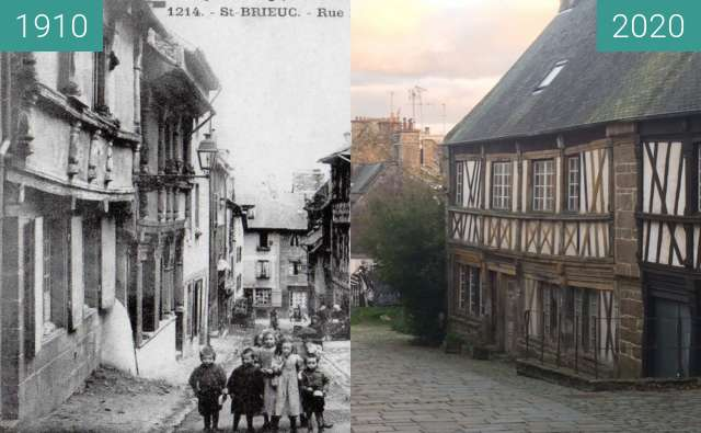 Before-and-after picture of Saint-Brieuc - Rue Fardel between 1910 and 2020-Dec-25