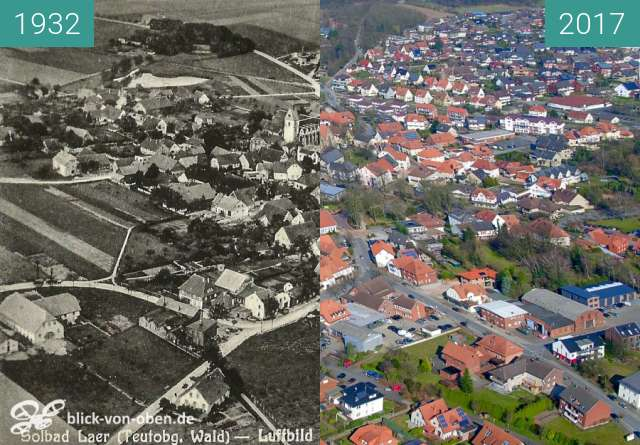 Before-and-after picture of Bad Laer between 1932 and 03/2017